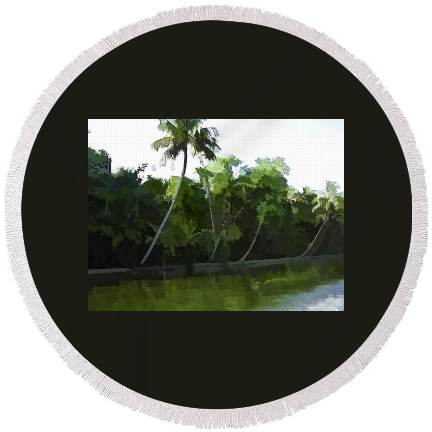 Alleppey Round Beach Towel featuring the digital art Coconut Trees And Other Plants In A Creek by Ashish Agarwal