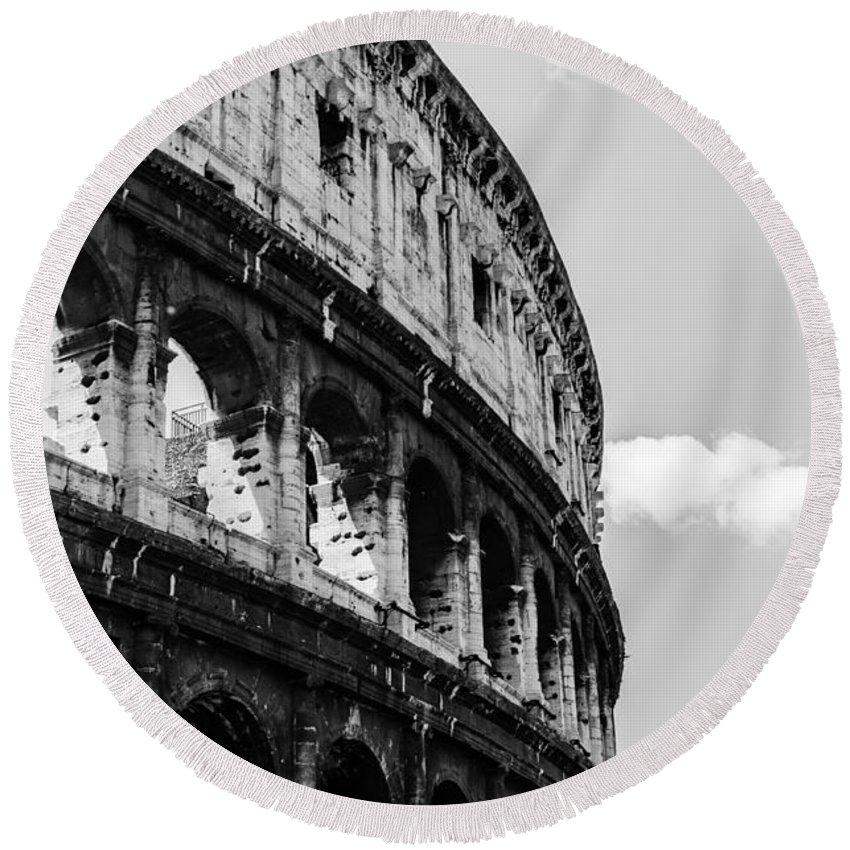 Roman Colosseum Round Beach Towel featuring the photograph Colosseum - Rome Italy by Andrea Mazzocchetti