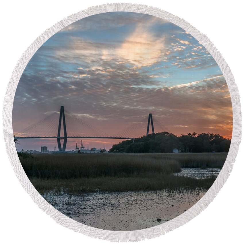Sunset Round Beach Towel featuring the photograph Charleston Cooper River Bridge by Dale Powell