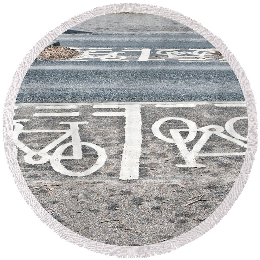 Asphalt Round Beach Towel featuring the photograph Cycle Path by Tom Gowanlock