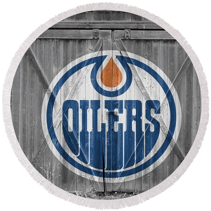 Oilers Round Beach Towel featuring the photograph Edmonton Oilers by Joe Hamilton