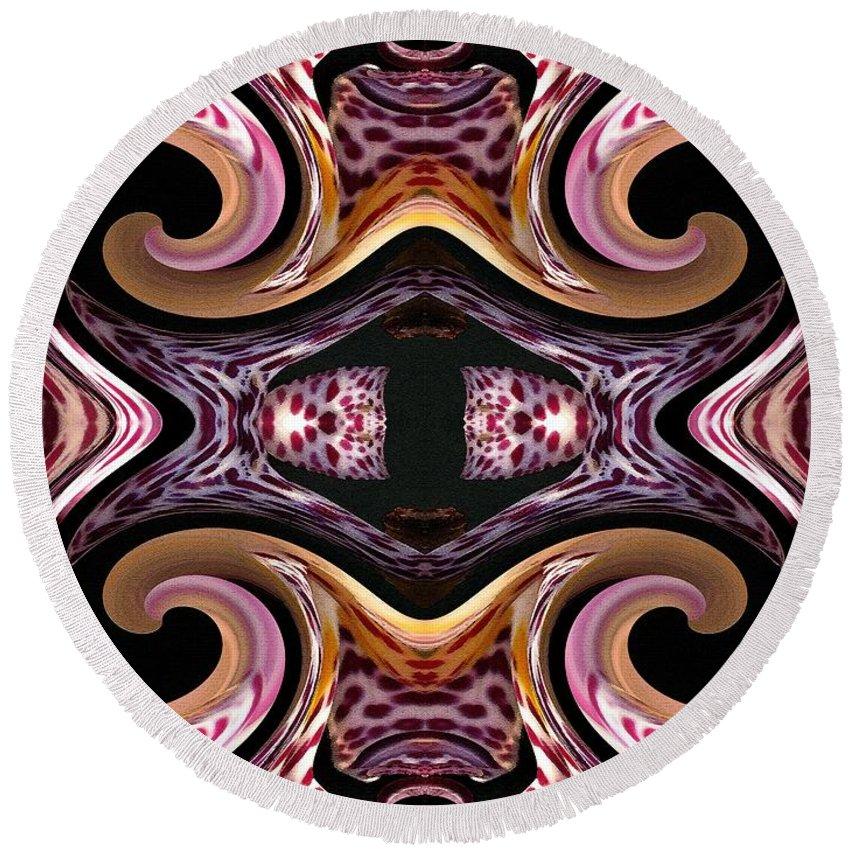 Mccombie Round Beach Towel featuring the painting Empress Abstract by J McCombie