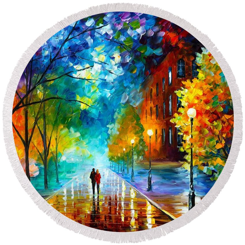 Afremov Round Beach Towel featuring the painting Freshness Of Cold by Leonid Afremov