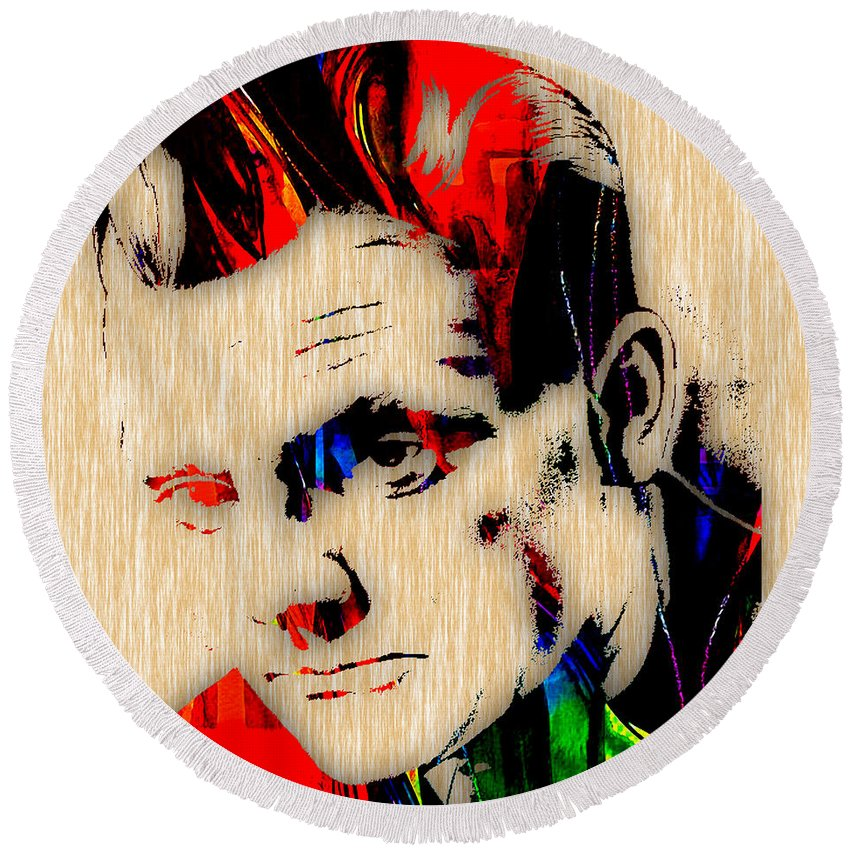 James Cagney Round Beach Towel featuring the mixed media James Cagney Collection by Marvin Blaine