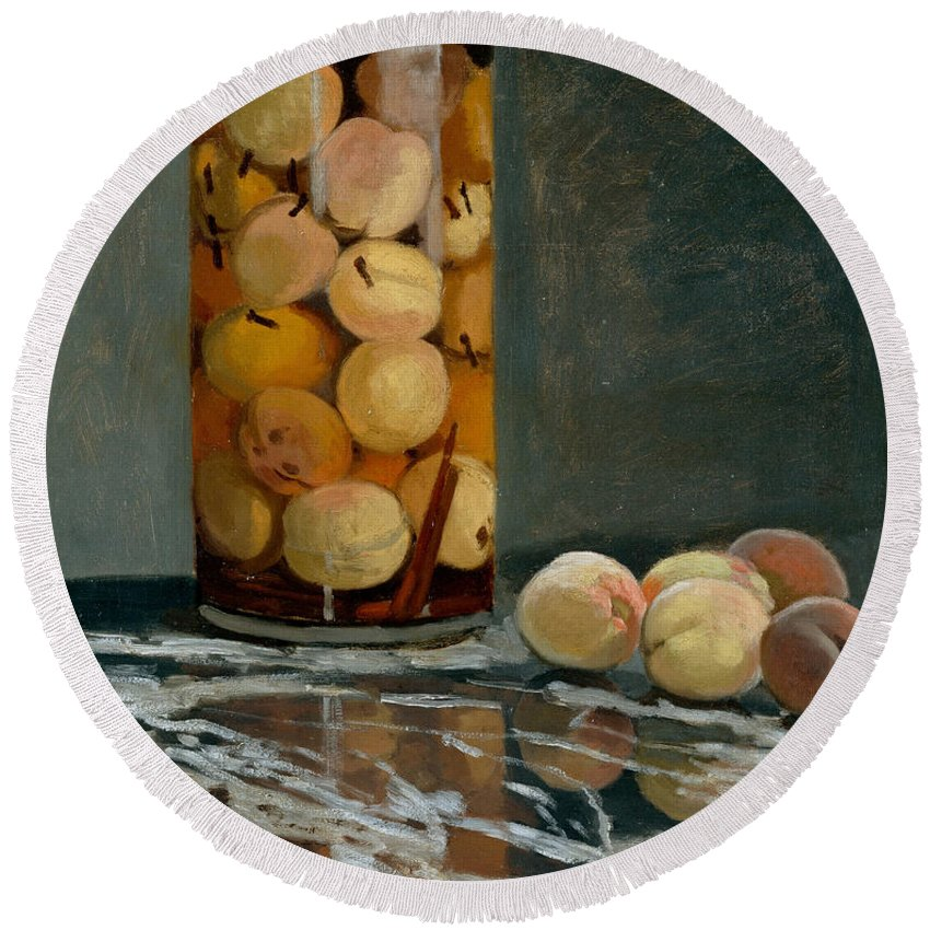 Claude Monet Round Beach Towel featuring the painting Jar Of Peaches by Claude Monet