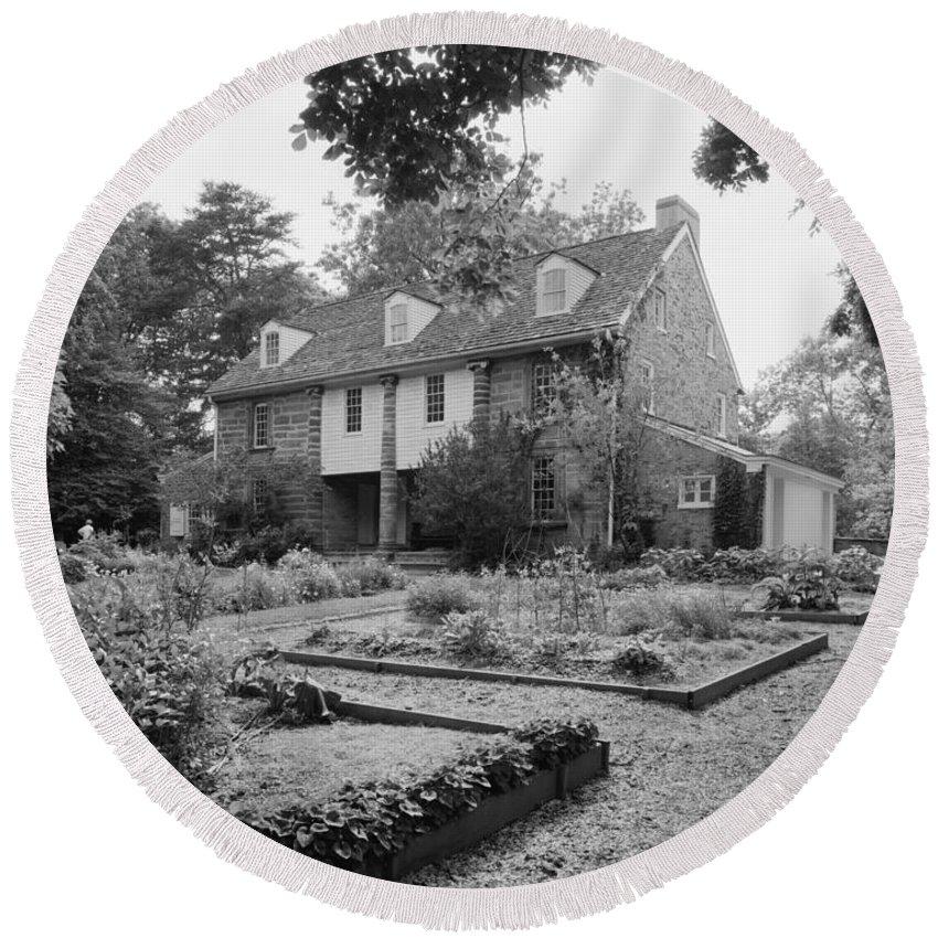 1728 Round Beach Towel featuring the photograph John Bartram House by Granger