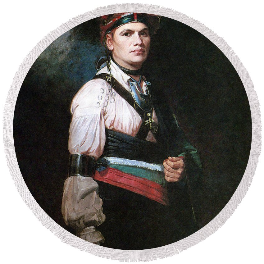 1776 Round Beach Towel featuring the painting Joseph Brant (1742-1807) by Granger