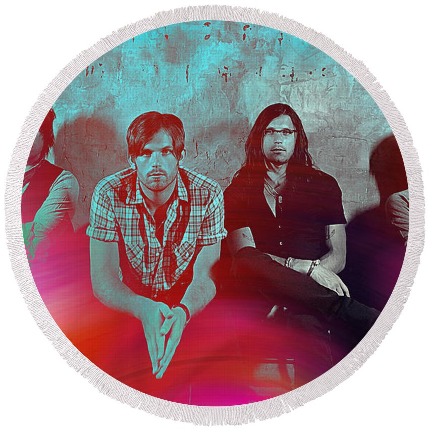 Kings Of Leon Photographs Mixed Media Round Beach Towel featuring the mixed media Kings Of Leon by Marvin Blaine