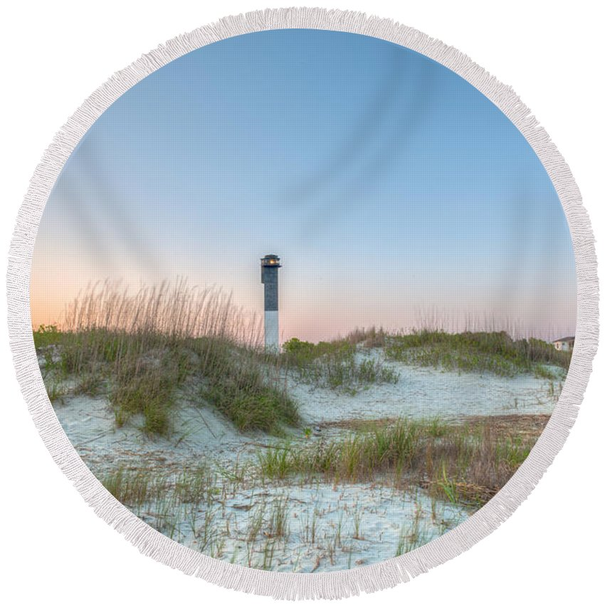 Sullivan's Island Lighthouse Round Beach Towel featuring the photograph Sullivan's Island Dunes To Lighthouse View by Dale Powell