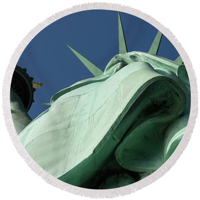 Photography Round Beach Towel featuring the photograph Low Angle View Of Statue Of Liberty by Panoramic Images