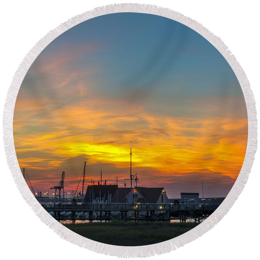 Sunset Round Beach Towel featuring the photograph Harbor Lowcountry Sunset by Dale Powell