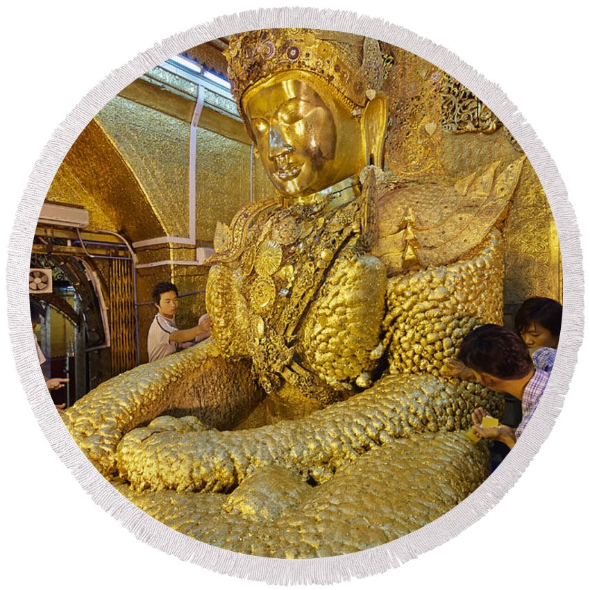 Myanmar Round Beach Towel featuring the photograph 4 M Tall Sitting Buddha With Thick Layer Of Golden Leaves In Mahamuni Pagoda Mandalay Myanmar by Juergen Ritterbach