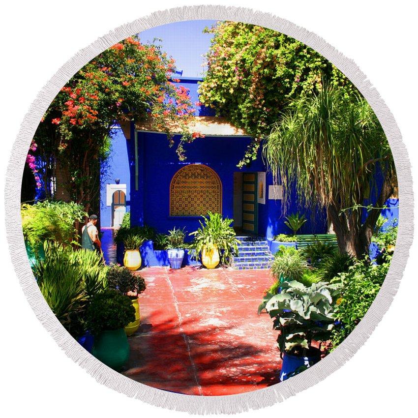 Majorelle Garden Round Beach Towel featuring the photograph Majorelle Garden Marrakesh Morocco by Ralph A Ledergerber-Photography