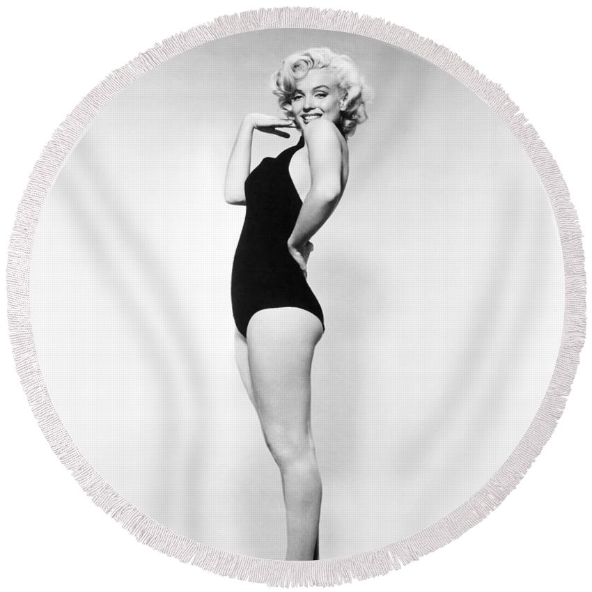 20th Century Round Beach Towel featuring the photograph Marilyn Monroe by Granger