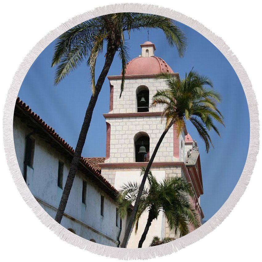 Mission Round Beach Towel featuring the photograph Old Mission Santa Barbara by Christiane Schulze Art And Photography