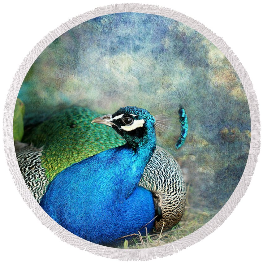 Peacock Round Beach Towel featuring the photograph Peacock by Heike Hultsch