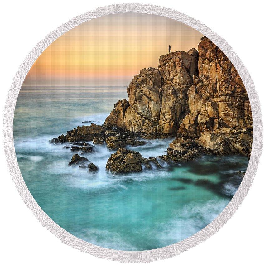 Galicia Round Beach Towel featuring the photograph Penencia Point Galicia Spain by Pablo Avanzini
