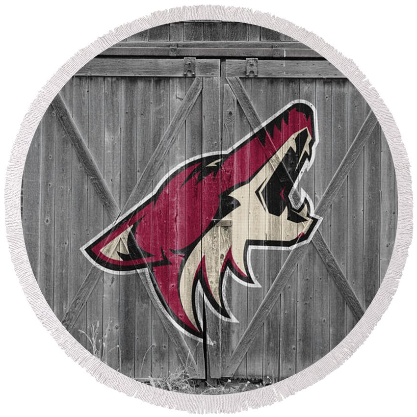 Coyotes Round Beach Towel featuring the photograph Phoenix Coyotes by Joe Hamilton