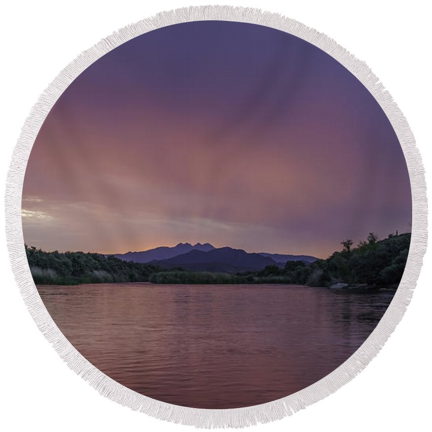 Landscape Round Beach Towel featuring the photograph Pink Glow by Lorraine Harrington