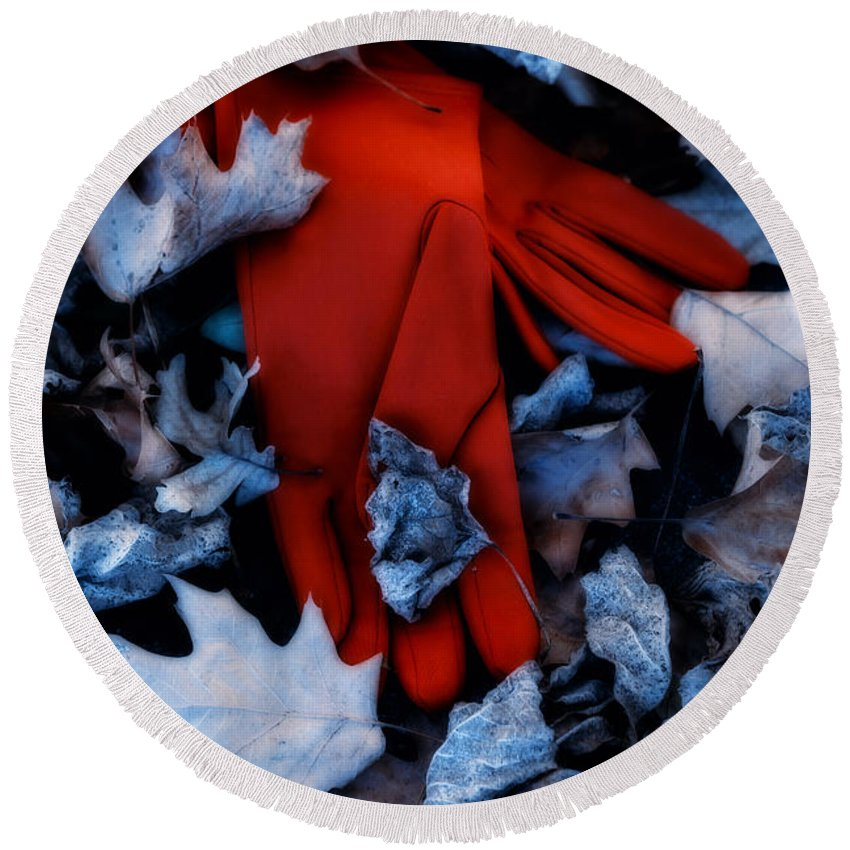 Glove Round Beach Towel featuring the photograph Red Gloves by Joana Kruse