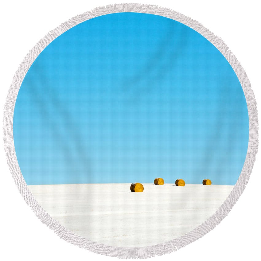 Snow Round Beach Towel featuring the photograph 4 Round Bales by Todd Klassy