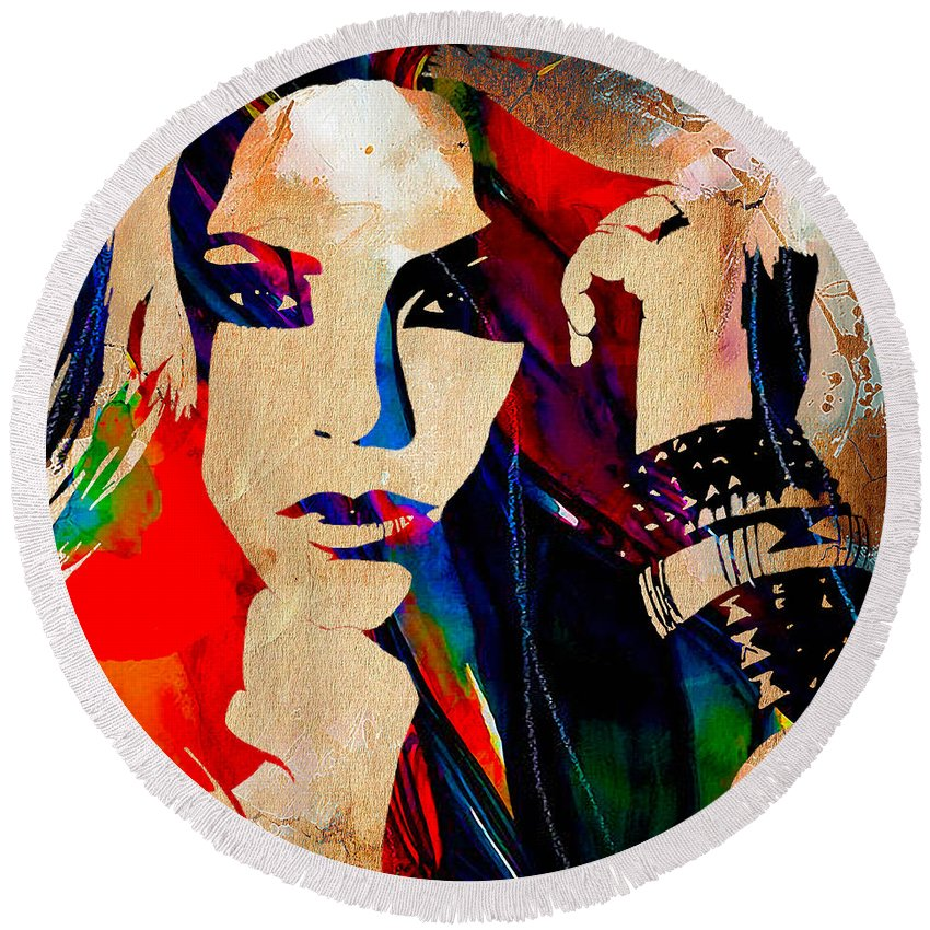 Shakira Round Beach Towel featuring the mixed media Shakira Collection by Marvin Blaine