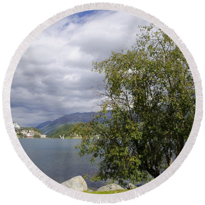 St Moritz Round Beach Towel featuring the photograph St Moritz Lake by Mats Silvan