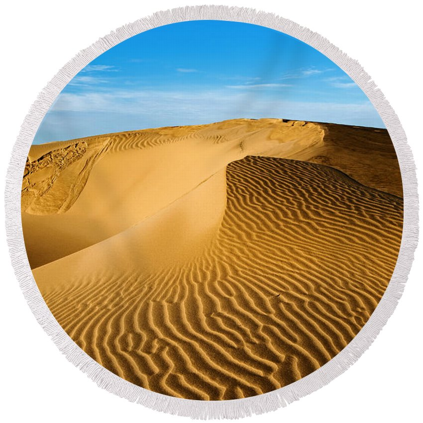 Sunrise At Oceano Sand Dunes Round Beach Towel featuring the photograph Sunrise At Oceano Sand Dunes by Yefim Bam