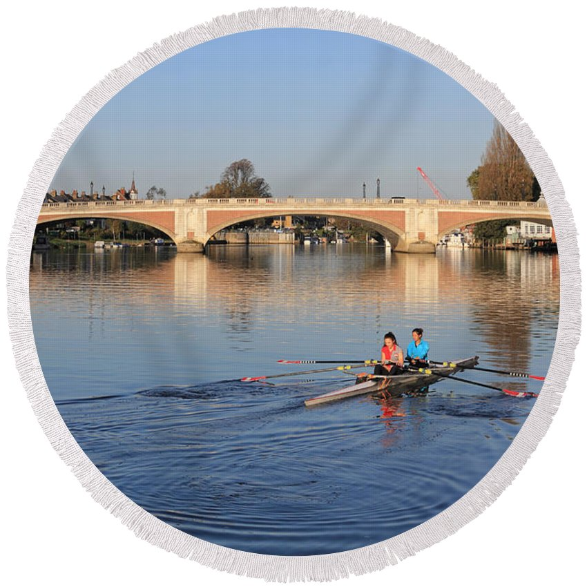 The River Thames At Hampton Court London Rowing Round Beach Towel featuring the photograph The River Thames At Hampton Court London by Julia Gavin