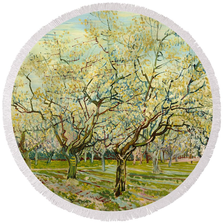 Painting Round Beach Towel featuring the painting The White Orchard by Mountain Dreams