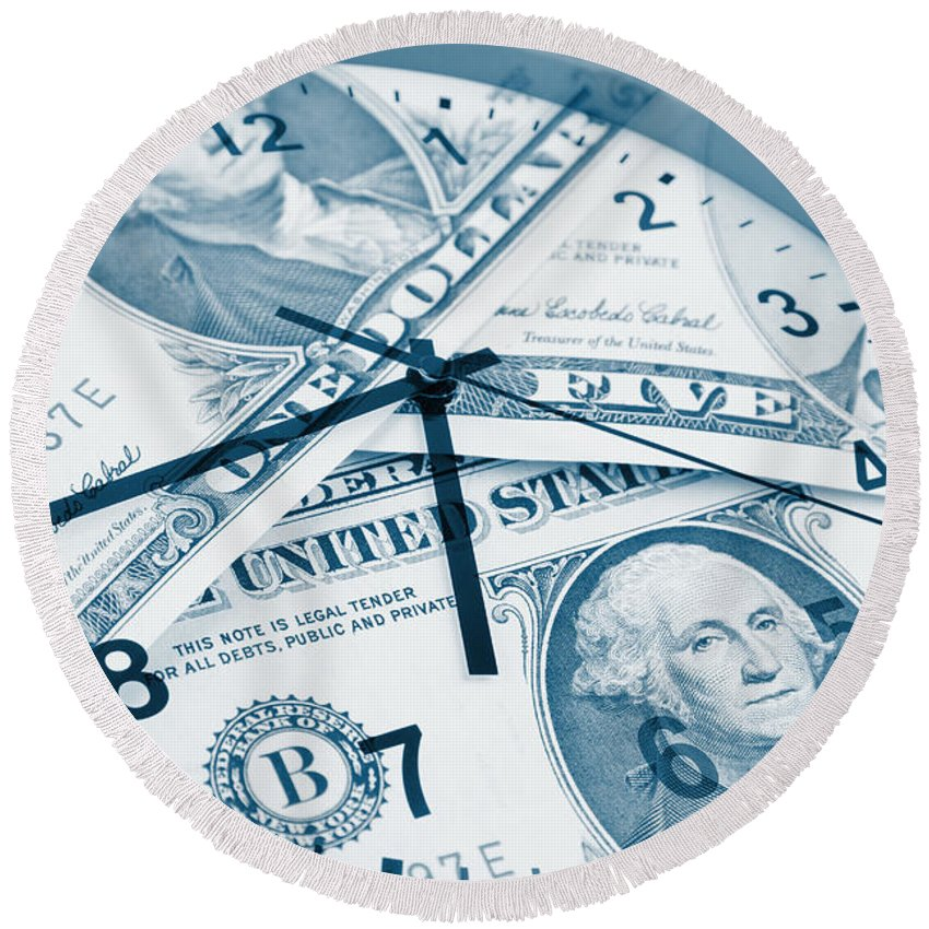 Time Is Money Round Beach Towel featuring the photograph Time Is Money Concept by Les Cunliffe