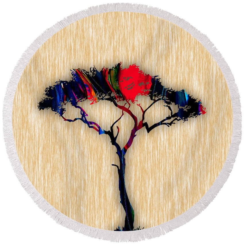 Tree Round Beach Towel featuring the mixed media Tree Wall Art by Marvin Blaine