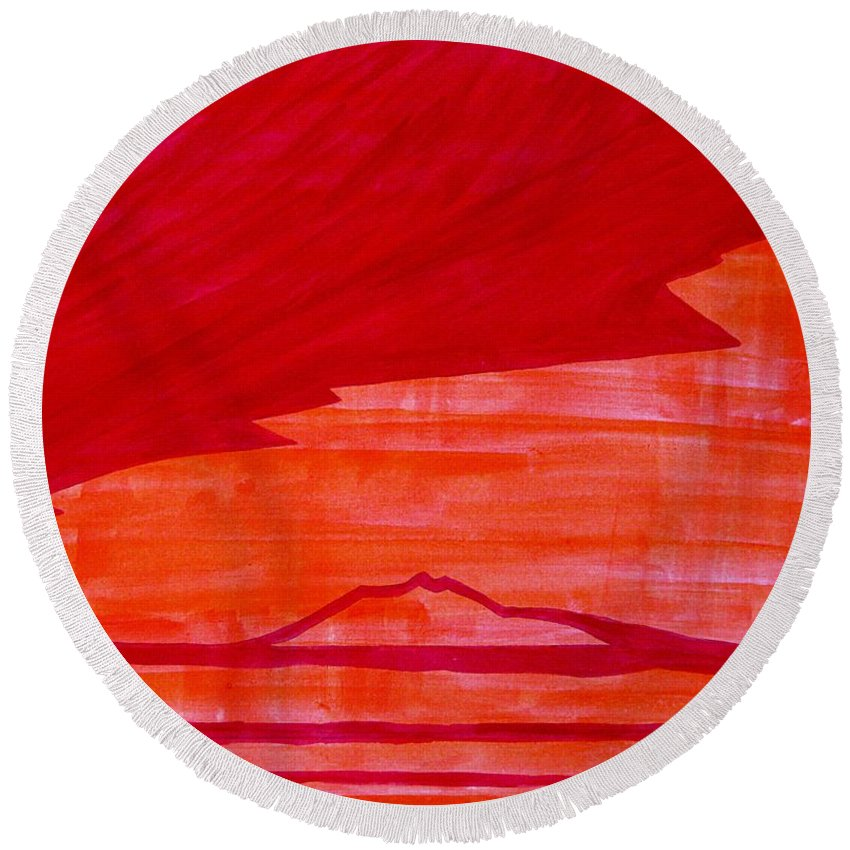 Painting Round Beach Towel featuring the painting Tres Orejas Original Painting by Sol Luckman