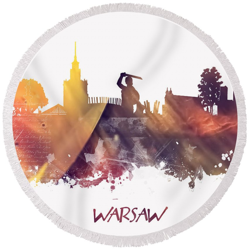 Warsaw Round Beach Towel featuring the digital art Warsaw City Skyline by Justyna JBJart