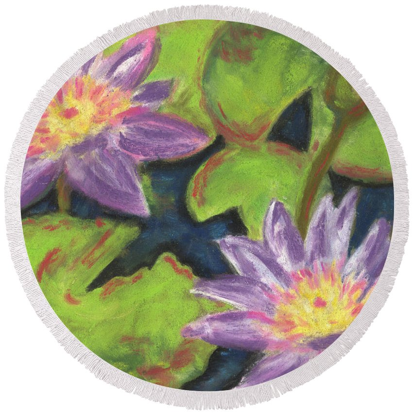 Pond Round Beach Towel featuring the painting Water Lilies I by Vicki Baun Barry