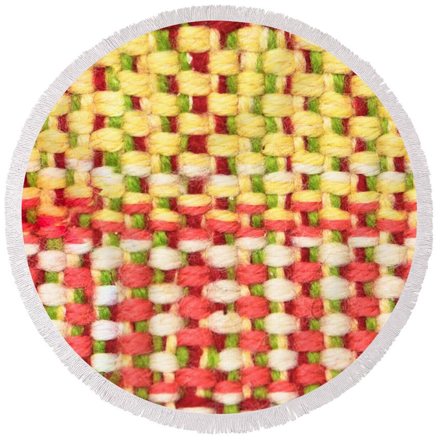 Background Round Beach Towel featuring the photograph Wool Pattern by Tom Gowanlock