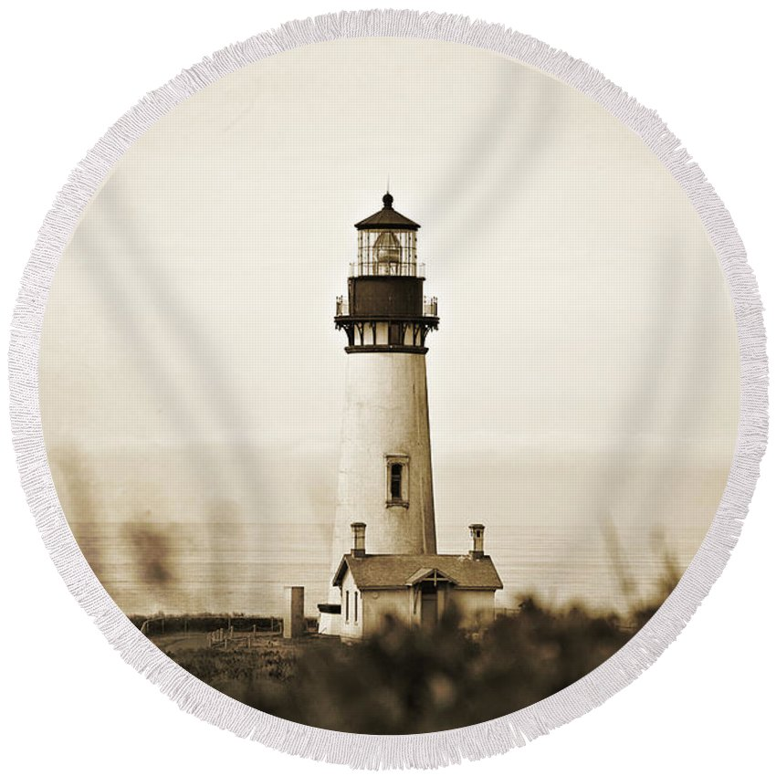 Lighthouse Round Beach Towel featuring the photograph Yaquina Head Lighthouse - Sepia Texture by Scott Pellegrin