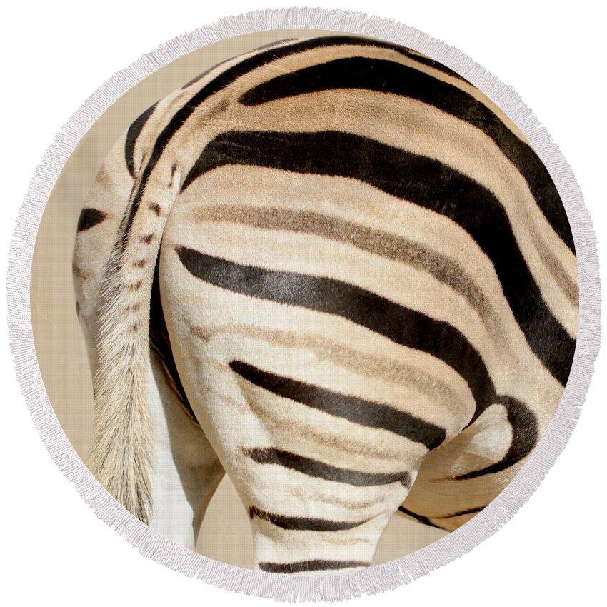 Zebra Round Beach Towel featuring the photograph Zebra by Heike Hultsch