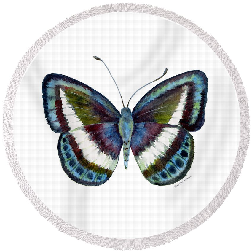 Danis Round Beach Towel featuring the painting 40 Danis Danis Butterfly by Amy Kirkpatrick
