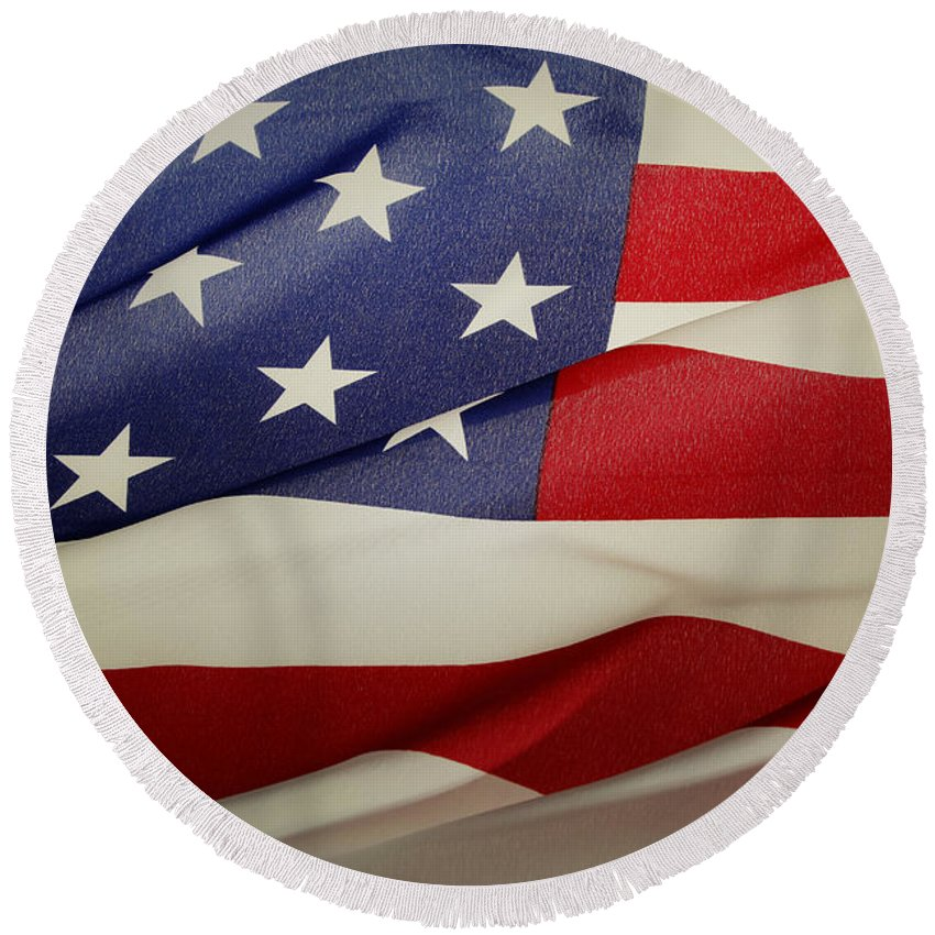 America Round Beach Towel featuring the photograph American Flag by Les Cunliffe