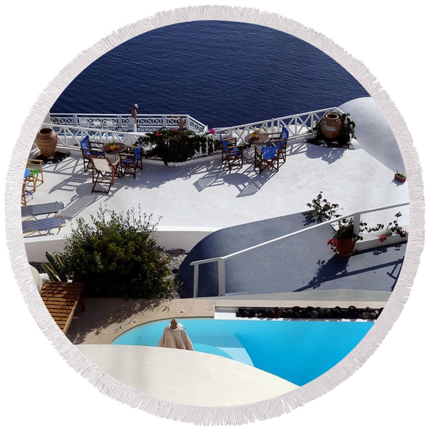 Santorini Round Beach Towel featuring the photograph Views Of Santorini Greece by Richard Rosenshein