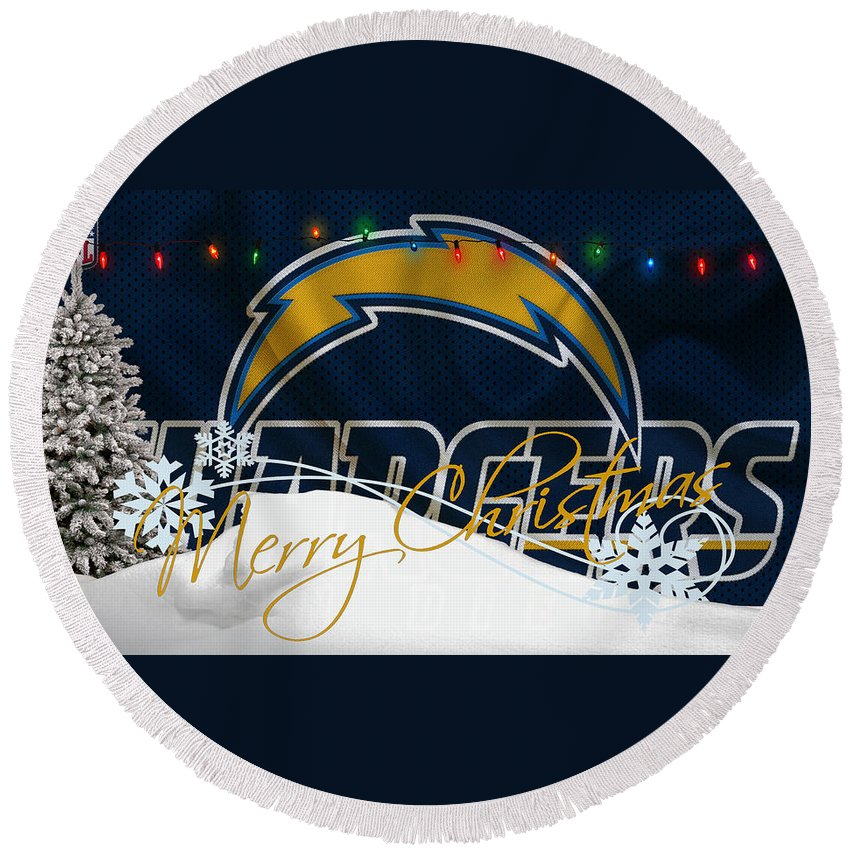 Chargers Round Beach Towel featuring the photograph San Diego Chargers by Joe Hamilton