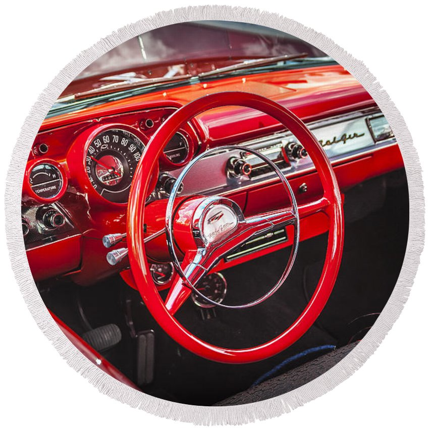 V8 Engine Round Beach Towel featuring the photograph 1957 Chevrolet Bel Air by Rich Franco