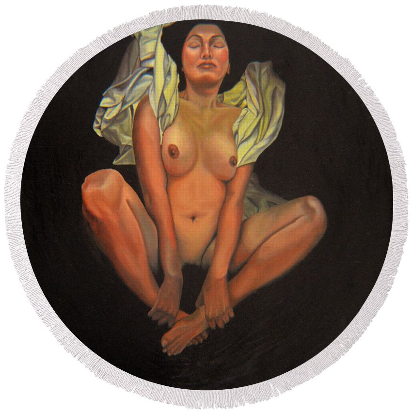 Nude Round Beach Towel featuring the painting 5 30 A.m. by Thu Nguyen