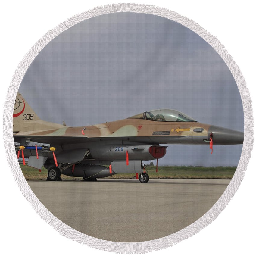 Aircraft Round Beach Towel featuring the photograph An F-16c Barak Of The Israeli Air Force by Ofer Zidon