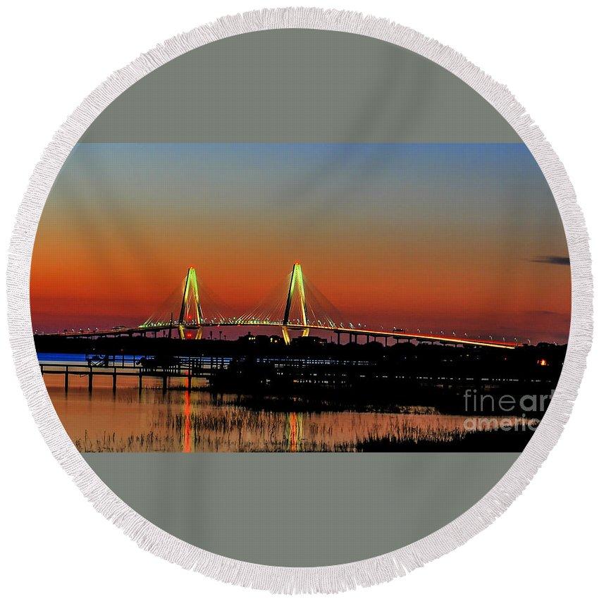 Sunset Round Beach Towel featuring the photograph Arthur Ravenel Bridge Orange Glow by Dale Powell