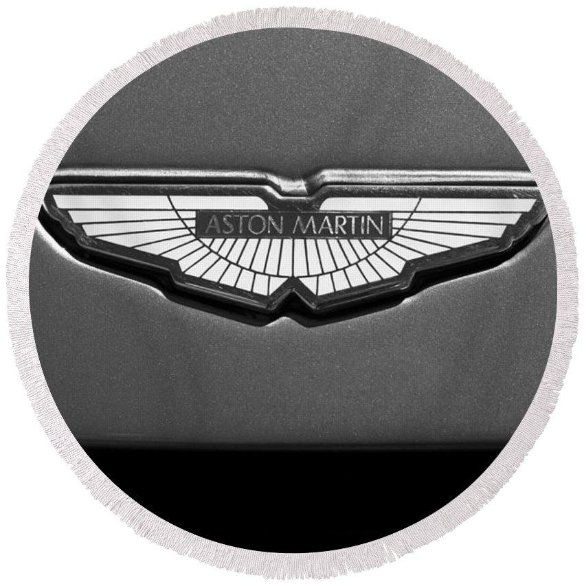 Aston Martin Emblem Round Beach Towel featuring the photograph Aston Martin Emblem by Jill Reger