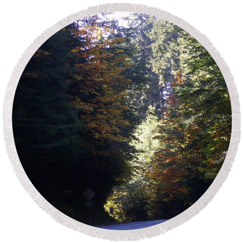 Bloom Round Beach Towel featuring the photograph Autumn 4 by J D Owen