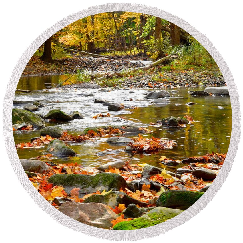 Autumn Round Beach Towel featuring the photograph Autumn Stream by Frozen in Time Fine Art Photography