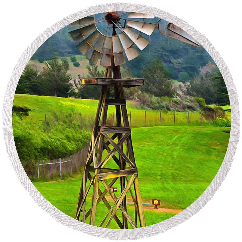 Painting San Simeon Pines Windmill Round Beach Towel featuring the painting Painting San Simeon Pines Windmill by Barbara Snyder